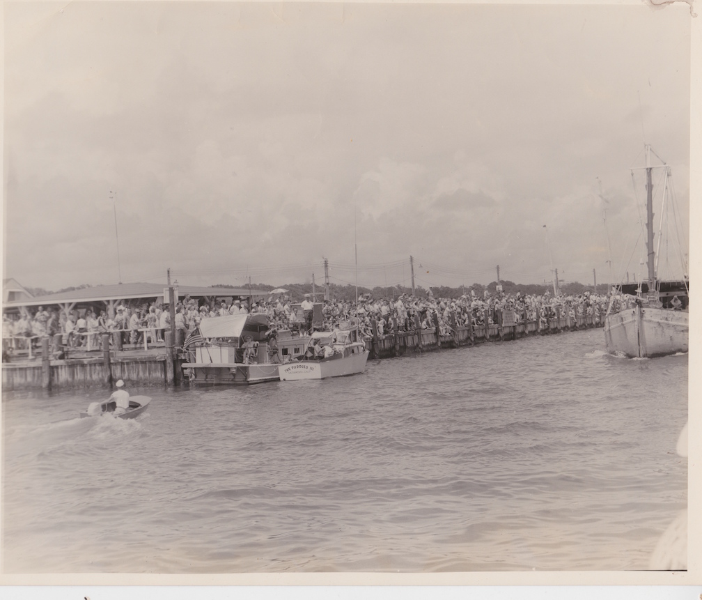 Black and white photo of the Blessing of the Fleet, Biloxi, circa 1962.