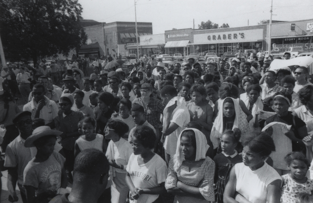 Black and white photograph of Civil Rights Boycott, Grenada, MS, July 14, 1966.