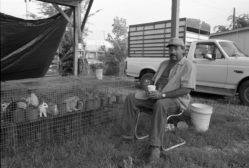Frank Wagner selling rabbits at First Monday in Ripley